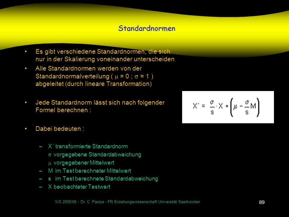 Standardnormen Es gibt verschiedene Standardnormen, die sich nur in der Skalierung voneinander unterscheiden.