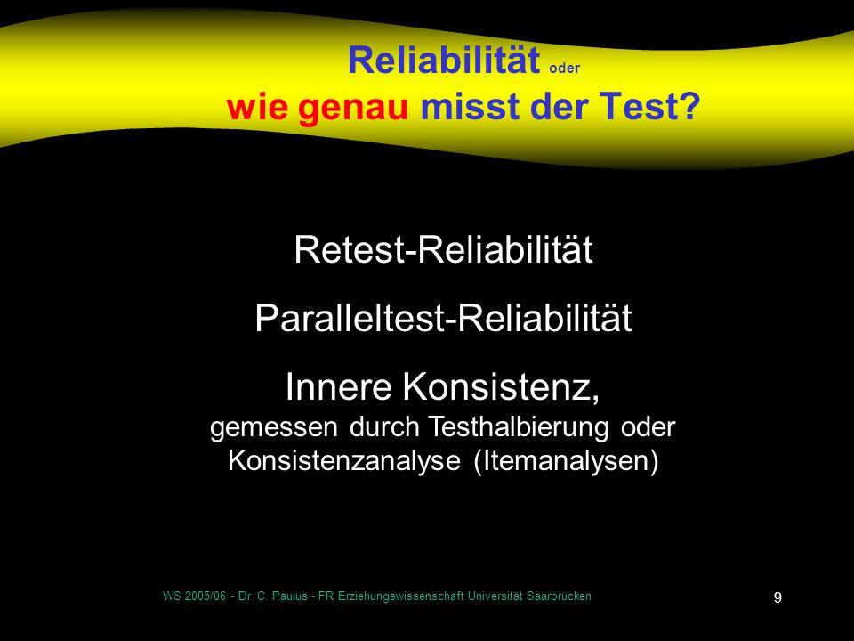 Reliabilität oder wie genau misst der Test