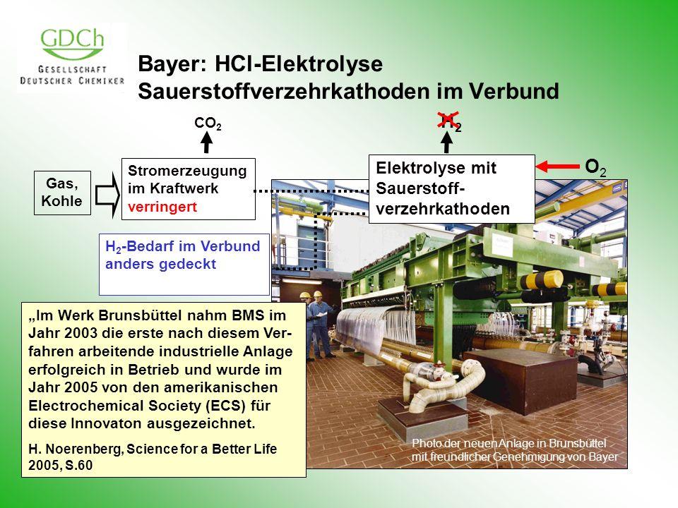 Bayer: HCl-Elektrolyse Sauerstoffverzehrkathoden im Verbund