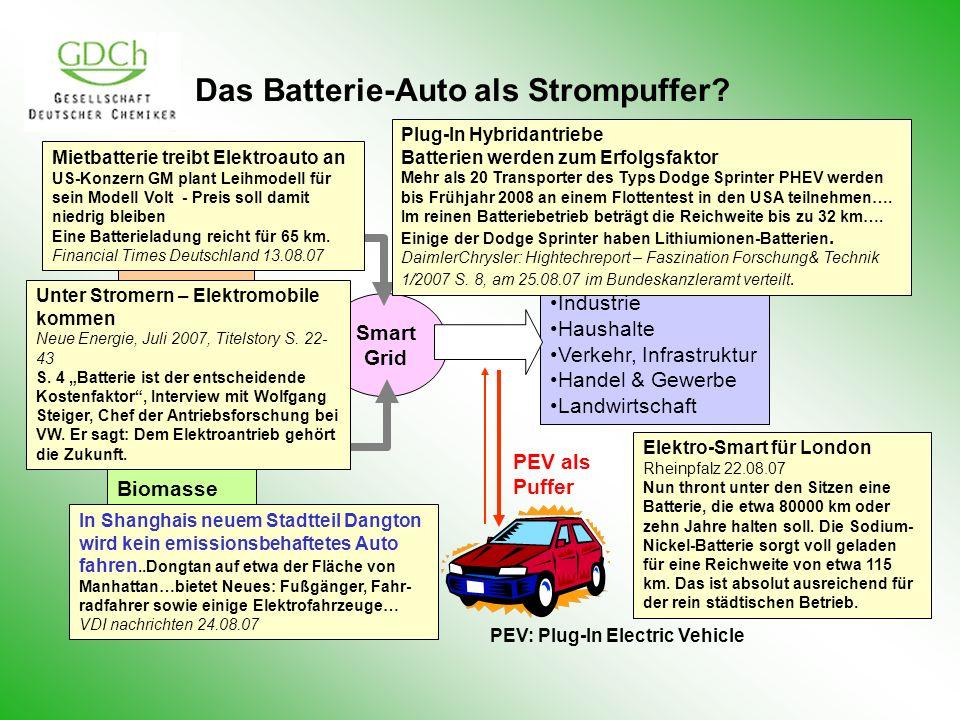 Das Batterie-Auto als Strompuffer