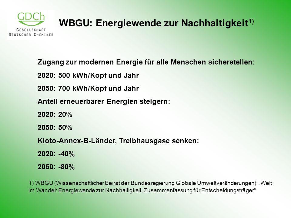 WBGU: Energiewende zur Nachhaltigkeit1)