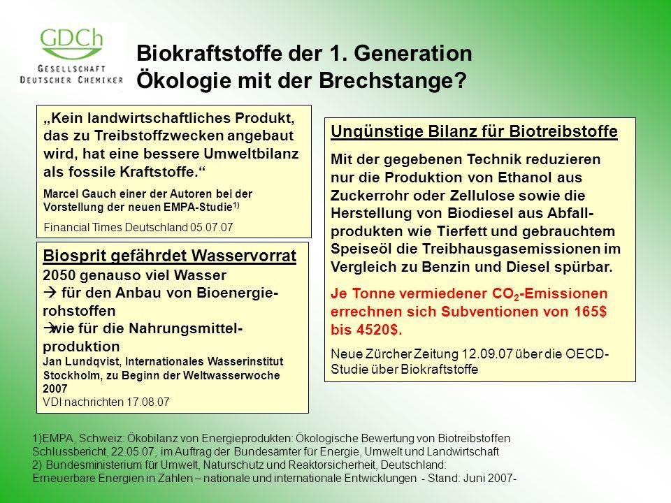 Biokraftstoffe der 1. Generation Ökologie mit der Brechstange