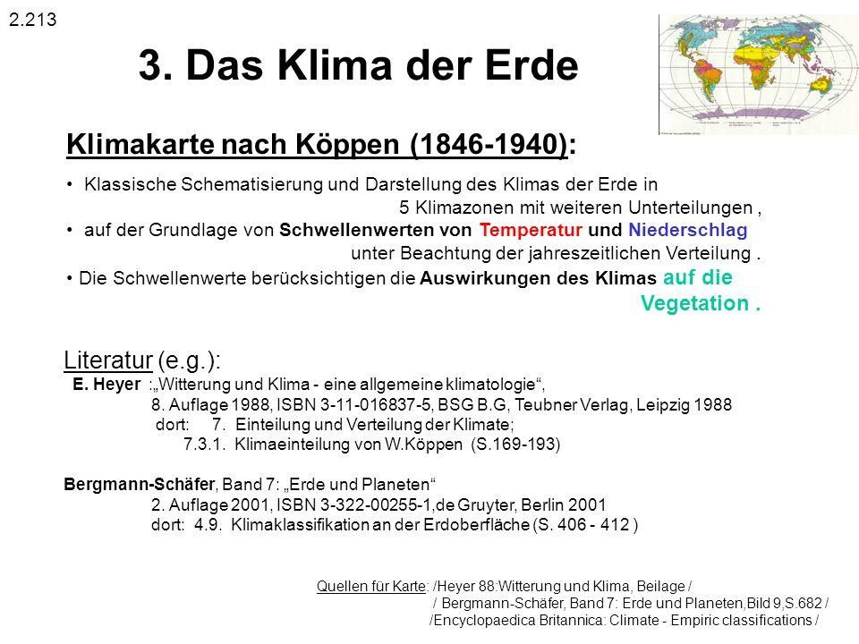 3. Das Klima der Erde Klimakarte nach Köppen (1846-1940):