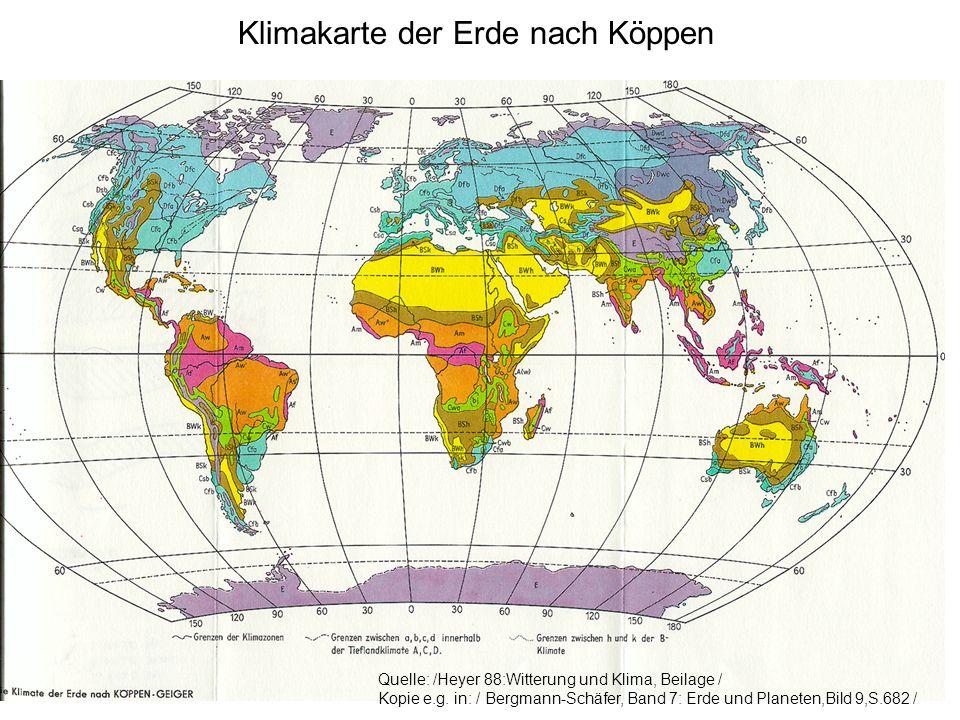 Klimakarte der Erde nach Köppen