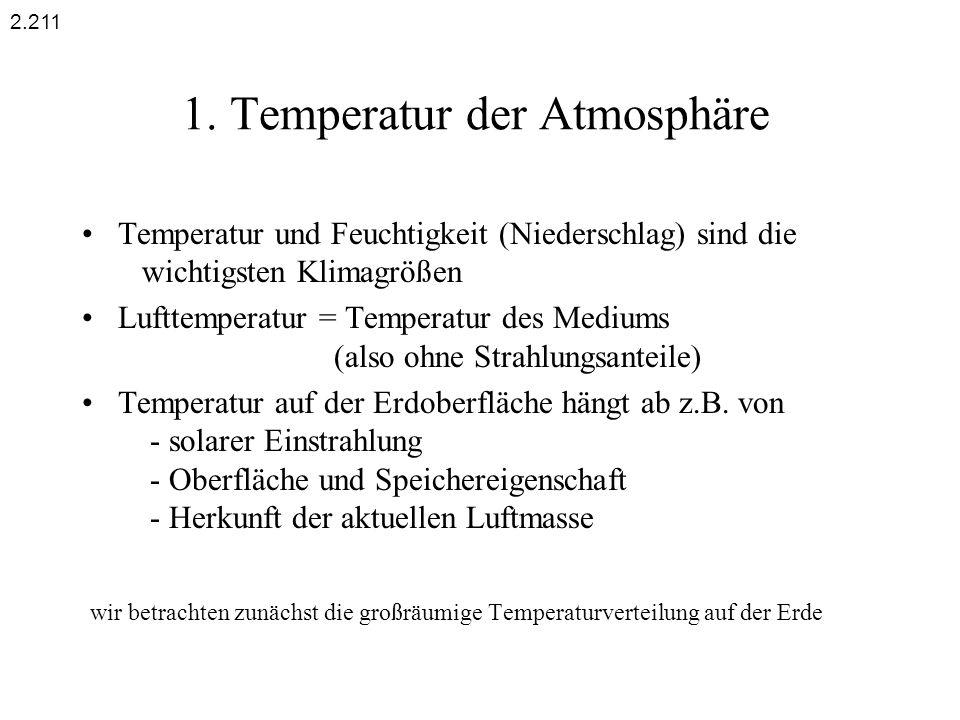 1. Temperatur der Atmosphäre