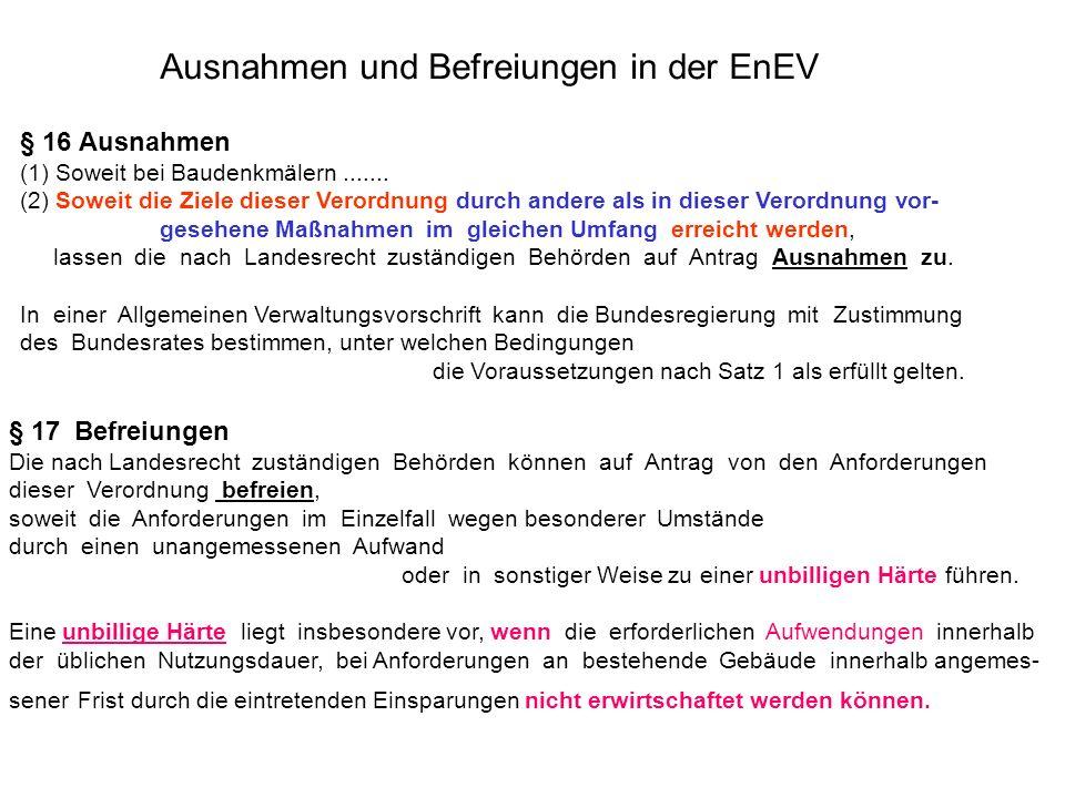 Ausnahmen und Befreiungen in der EnEV