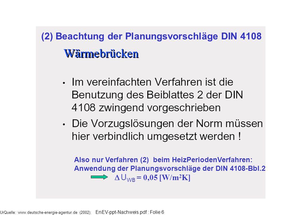 (2) Beachtung der Planungsvorschläge DIN 4108