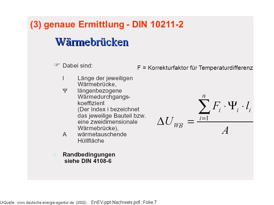 F = Korrekturfaktor für Temperaturdifferenz