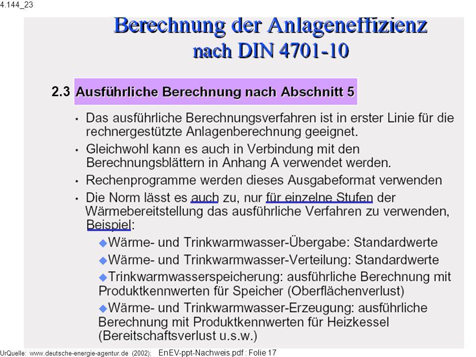 4.144_23 2.3 UrQuelle: www.deutsche-energie-agentur.de (2002); EnEV-ppt-Nachweis.pdf : Folie 17
