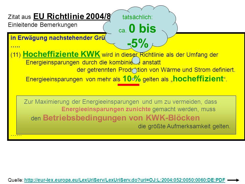 Zitat aus EU Richtlinie 2004/8/EG Einleitende Bemerkungen