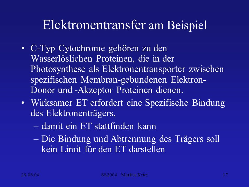 Elektronentransfer am Beispiel