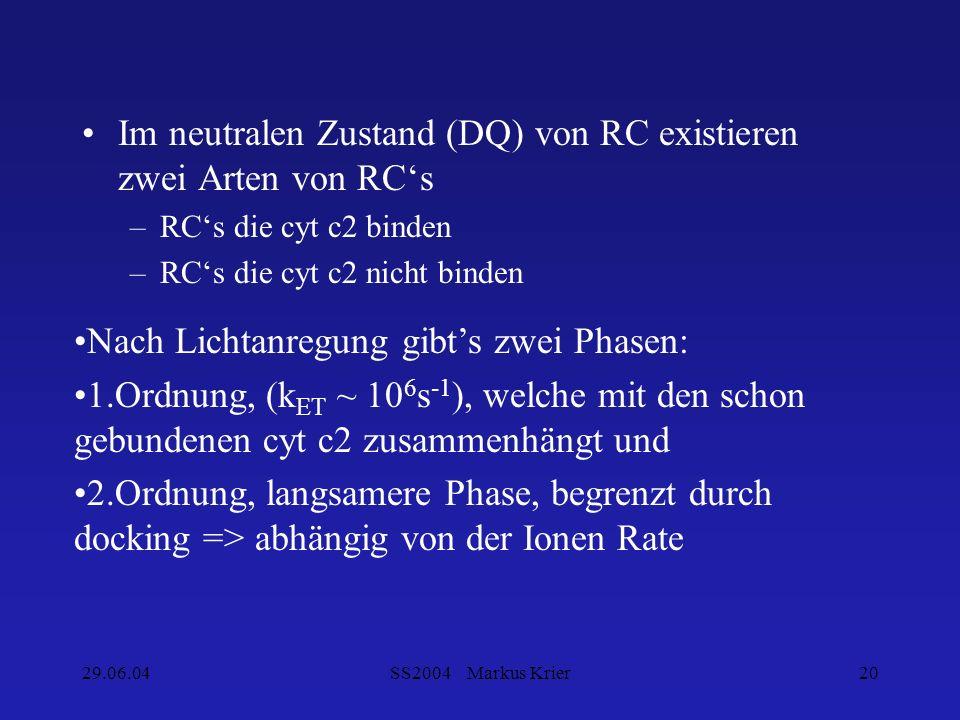 Im neutralen Zustand (DQ) von RC existieren zwei Arten von RC's