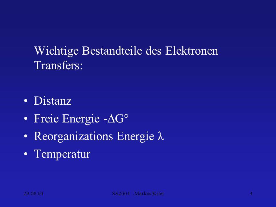 Wichtige Bestandteile des Elektronen Transfers: