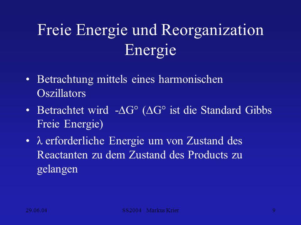 Freie Energie und Reorganization Energie