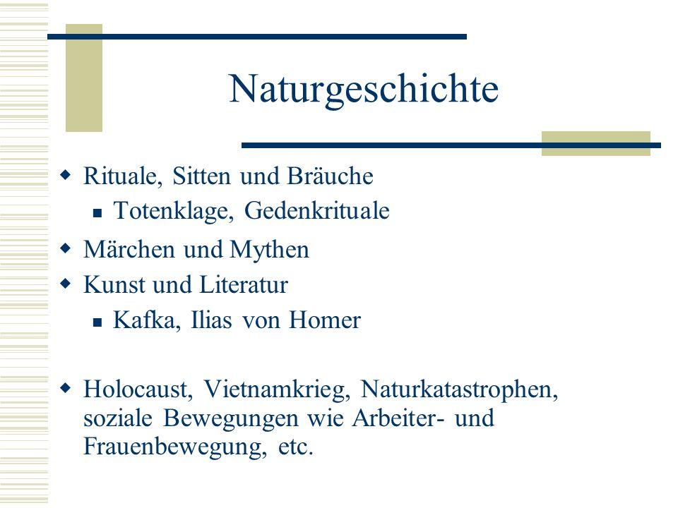 Naturgeschichte Rituale, Sitten und Bräuche Totenklage, Gedenkrituale