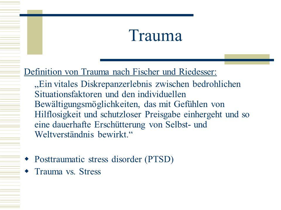 Trauma Definition von Trauma nach Fischer und Riedesser: