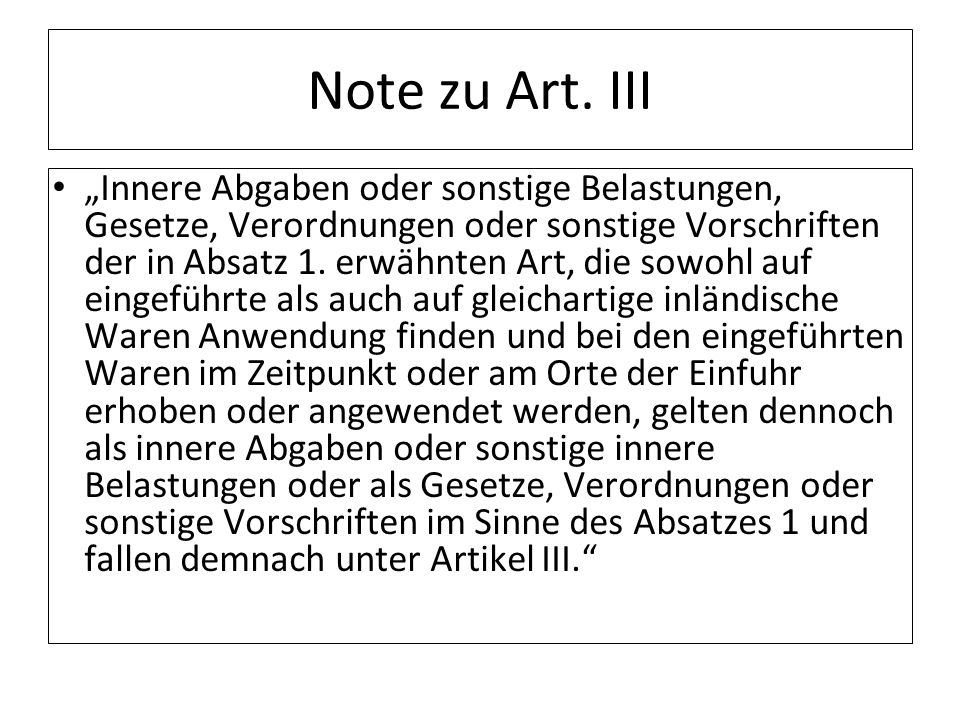 Note zu Art. III