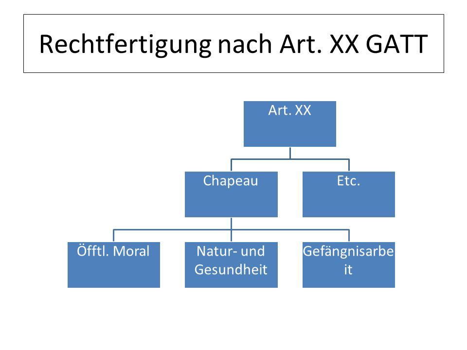 Rechtfertigung nach Art. XX GATT