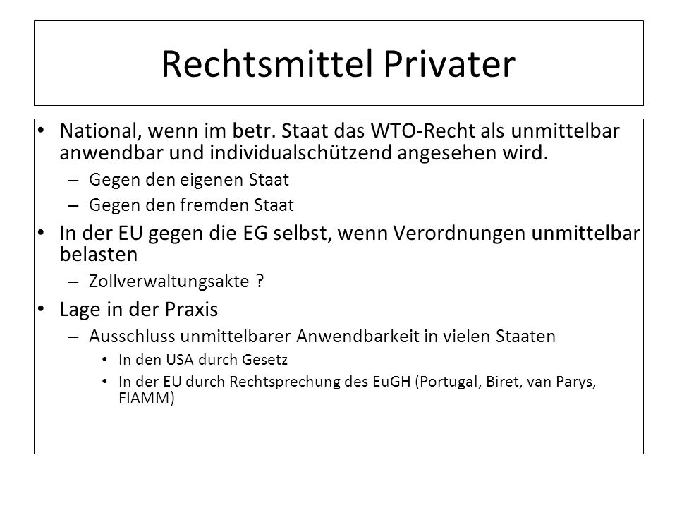 Rechtsmittel Privater