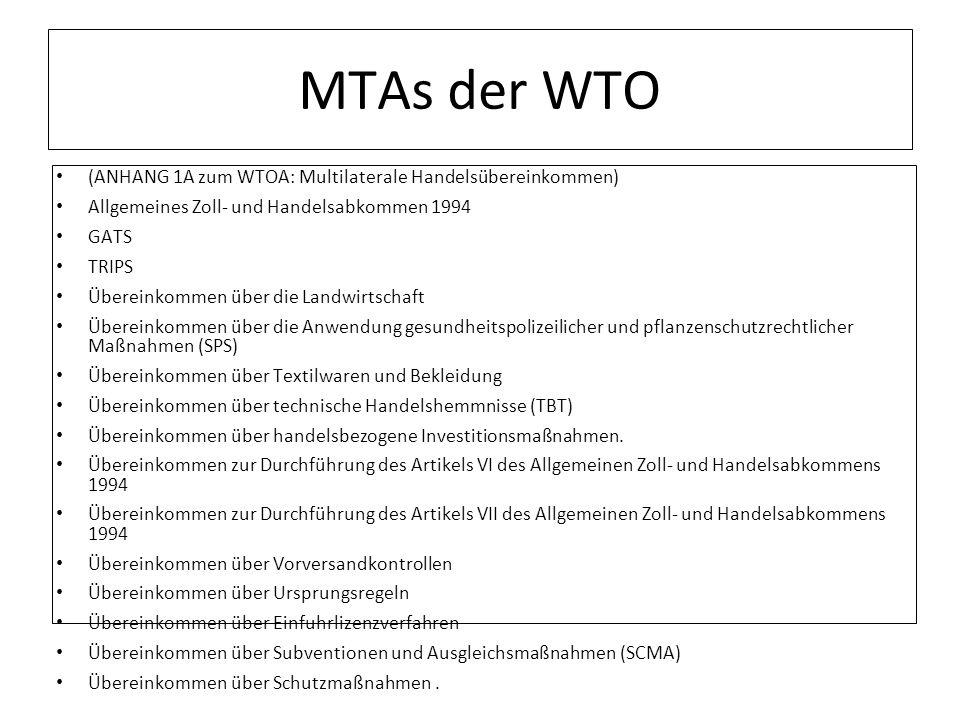 MTAs der WTO (ANHANG 1A zum WTOA: Multilaterale Handelsübereinkommen)
