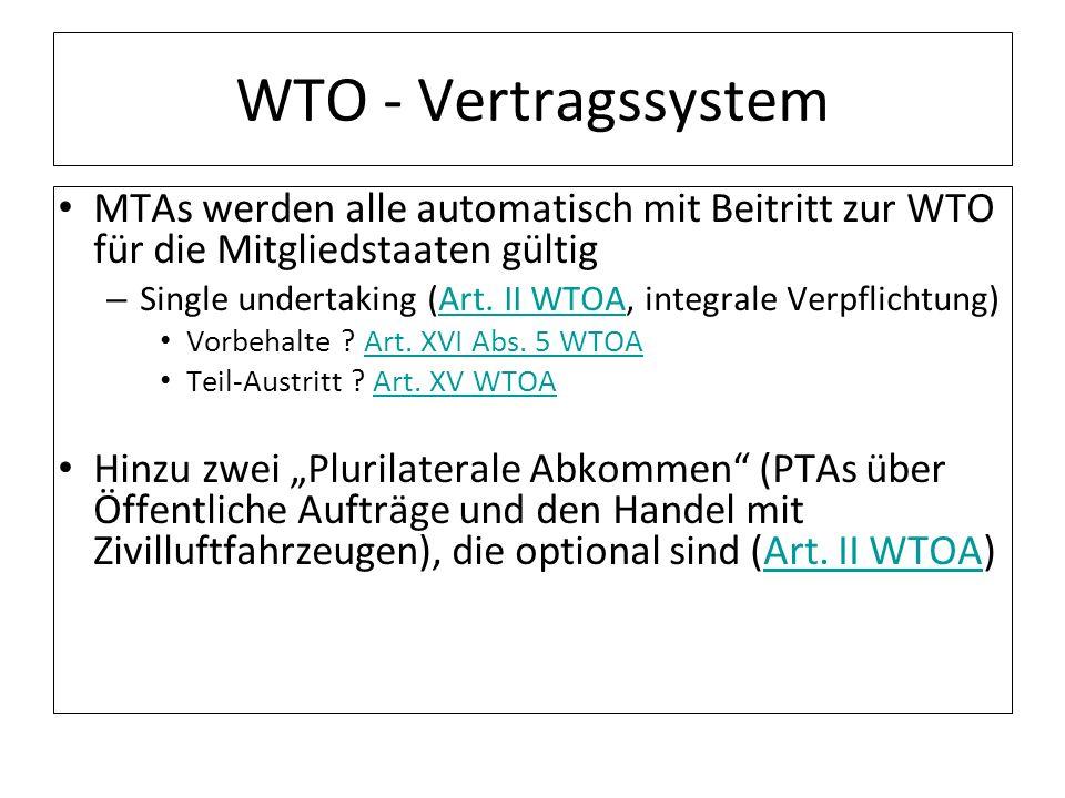 WTO - Vertragssystem MTAs werden alle automatisch mit Beitritt zur WTO für die Mitgliedstaaten gültig.