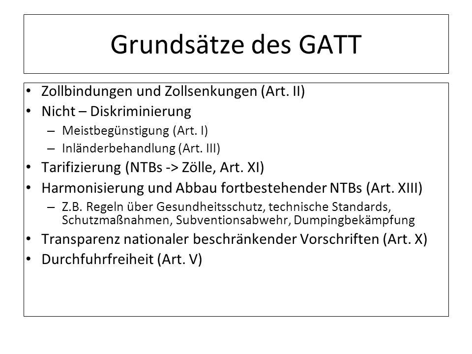 Grundsätze des GATT Zollbindungen und Zollsenkungen (Art. II)