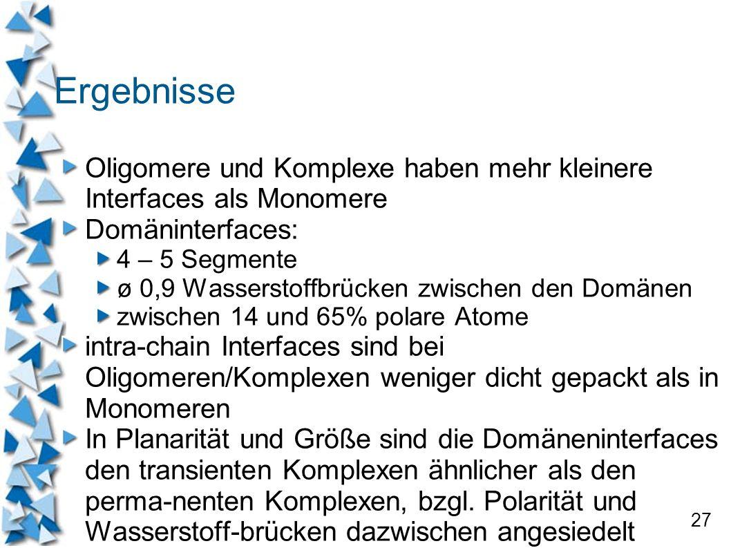 Ergebnisse Oligomere und Komplexe haben mehr kleinere Interfaces als Monomere. Domäninterfaces: 4 – 5 Segmente.