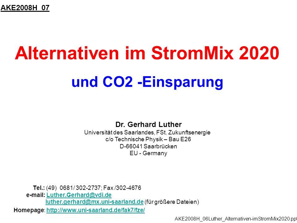 Alternativen im StromMix 2020 und CO2 -Einsparung