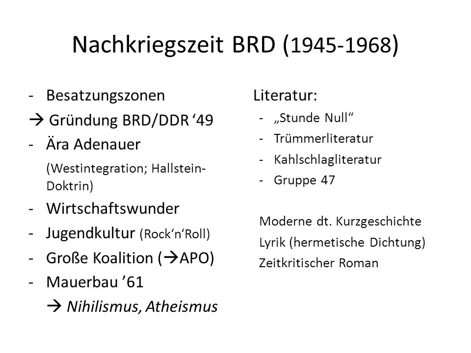 Nachkriegszeit BRD (1945-1968)