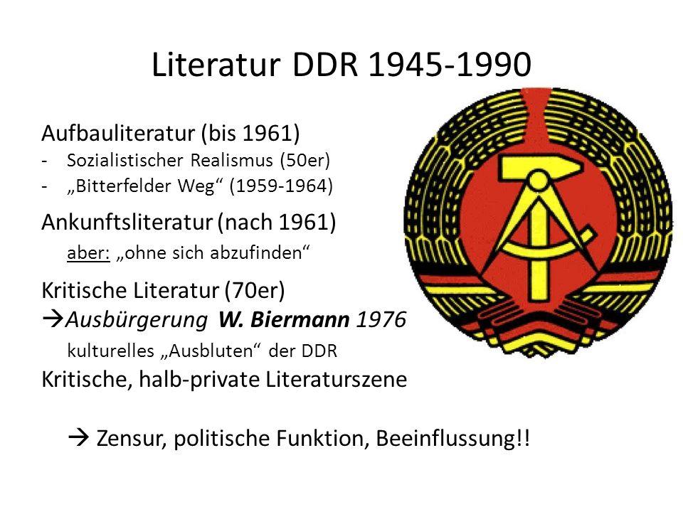 Literatur DDR 1945-1990 Aufbauliteratur (bis 1961)