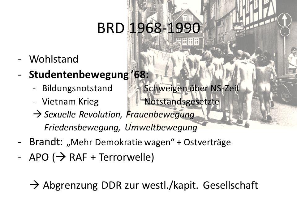 BRD 1968-1990 Wohlstand Studentenbewegung '68: