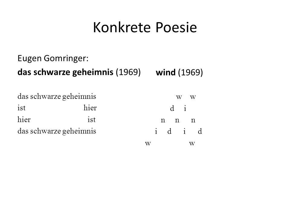 Konkrete Poesie Eugen Gomringer: das schwarze geheimnis (1969)
