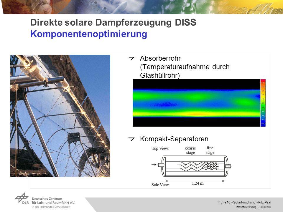 Direkte solare Dampferzeugung DISS Komponentenoptimierung