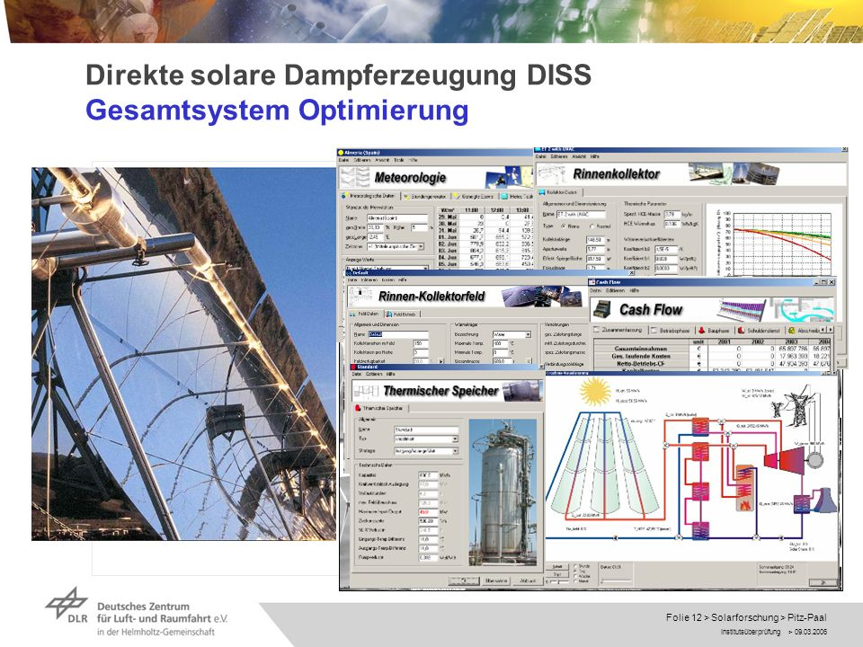 Direkte solare Dampferzeugung DISS Gesamtsystem Optimierung