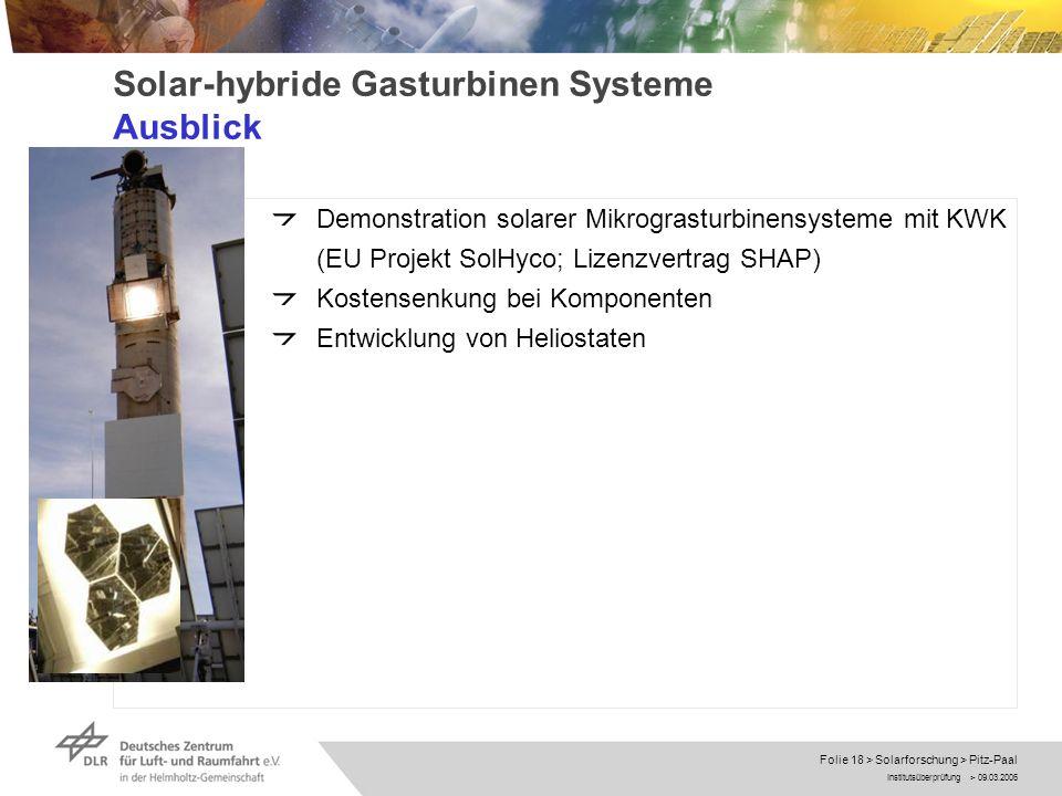 Solar-hybride Gasturbinen Systeme Ausblick