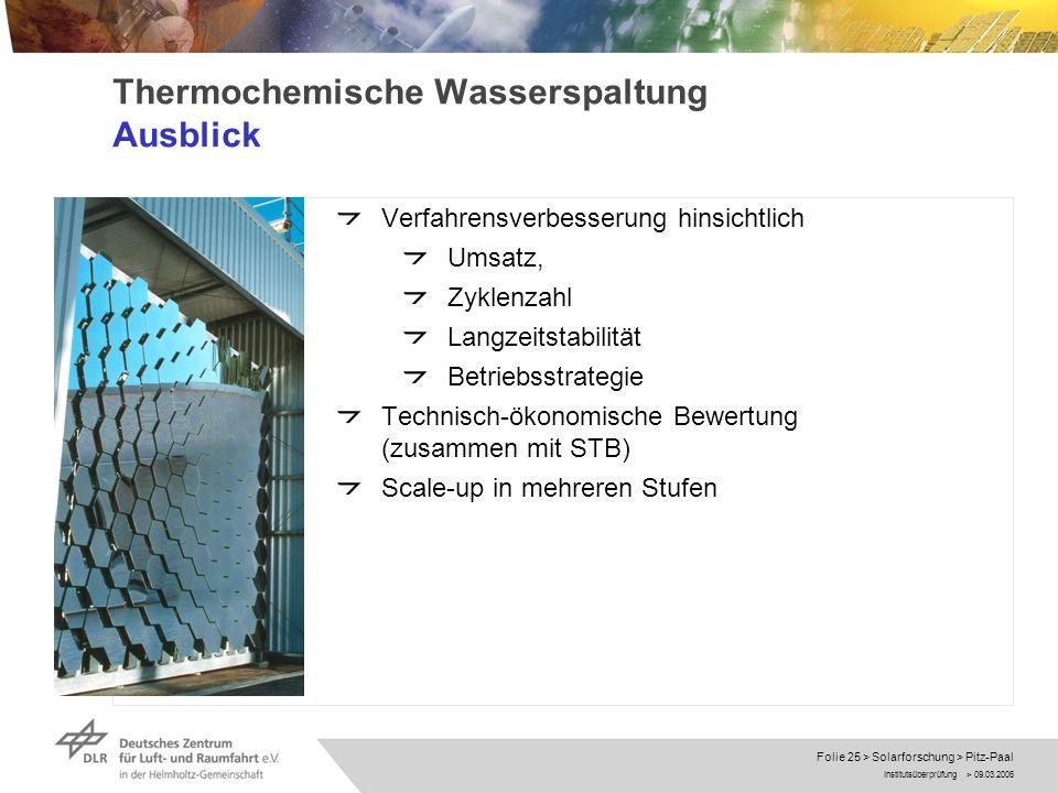 Thermochemische Wasserspaltung Ausblick