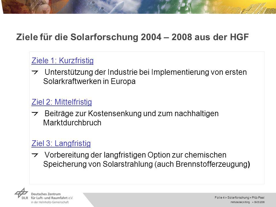 Ziele für die Solarforschung 2004 – 2008 aus der HGF