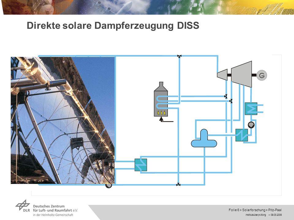 Direkte solare Dampferzeugung DISS