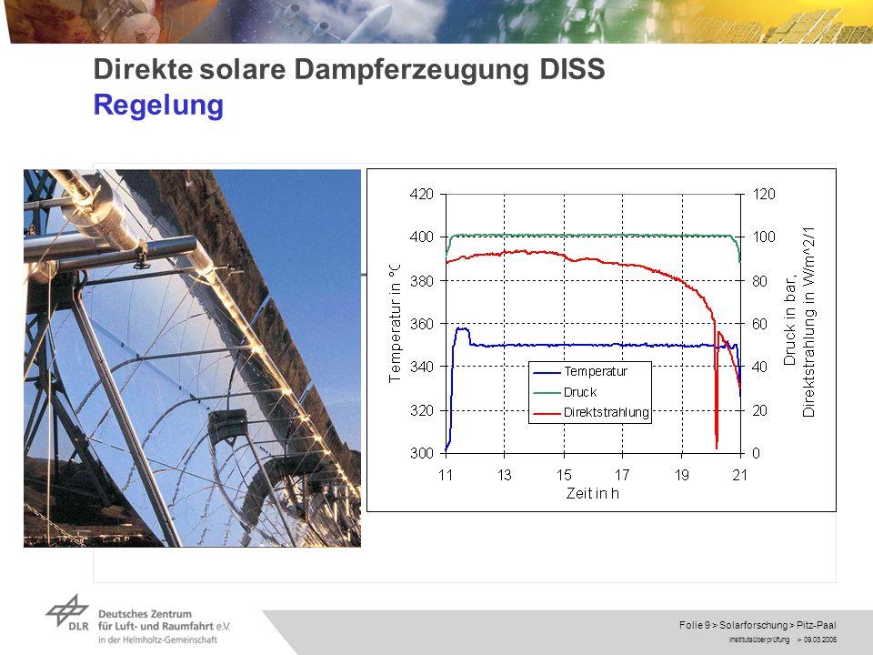 Direkte solare Dampferzeugung DISS Regelung