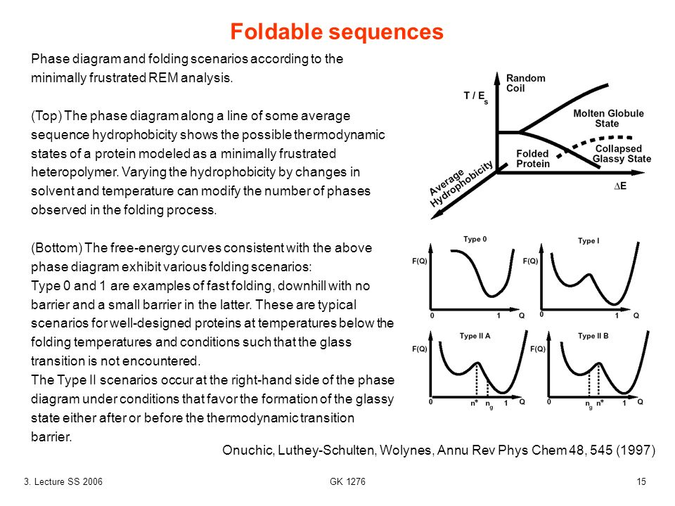 Foldable sequences Phase diagram and folding scenarios according to the minimally frustrated REM analysis.
