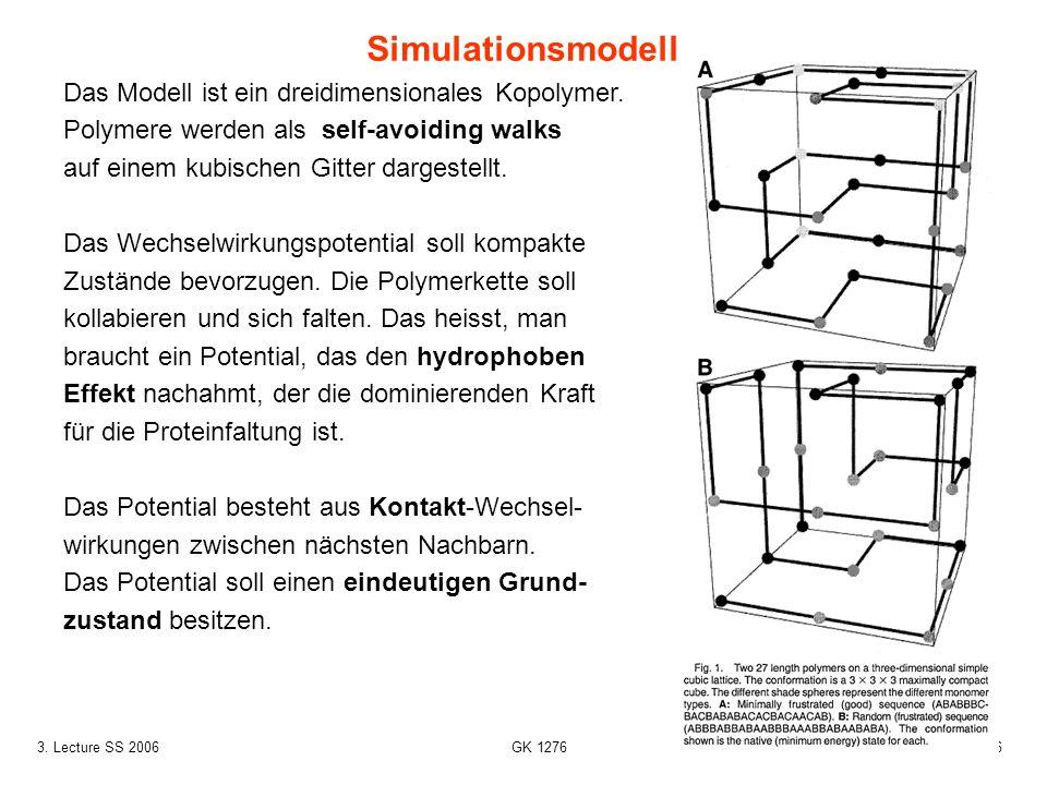 Simulationsmodell Das Modell ist ein dreidimensionales Kopolymer.