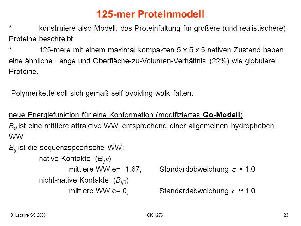 125-mer Proteinmodell * konstruiere also Modell, das Proteinfaltung für größere (und realistischere) Proteine beschreibt.
