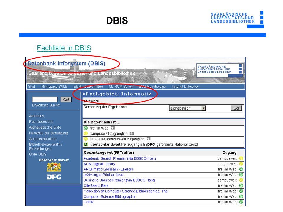 DBIS Fachliste in DBIS