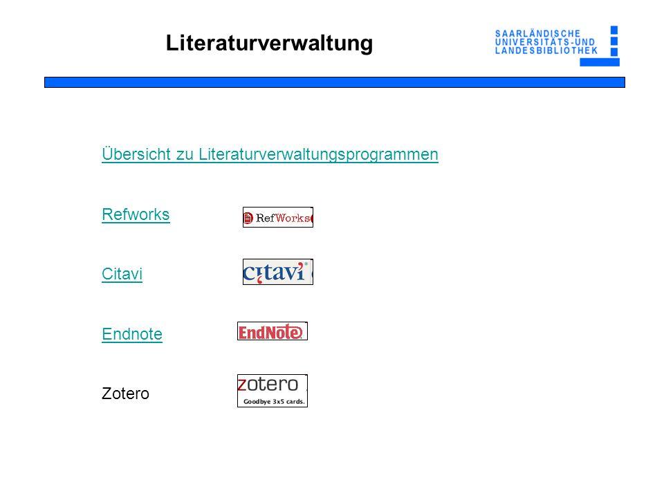 Literaturverwaltung Übersicht zu Literaturverwaltungsprogrammen