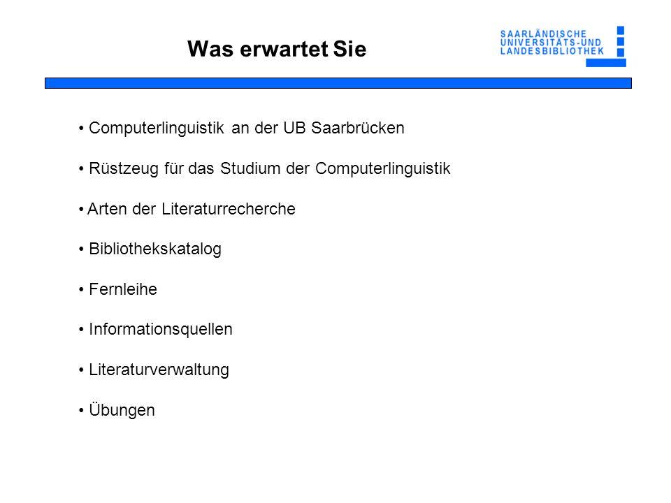Was erwartet Sie Computerlinguistik an der UB Saarbrücken