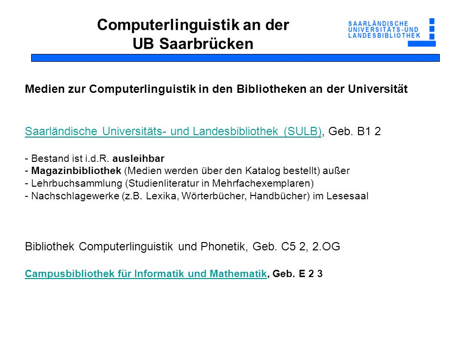 Computerlinguistik an der UB Saarbrücken