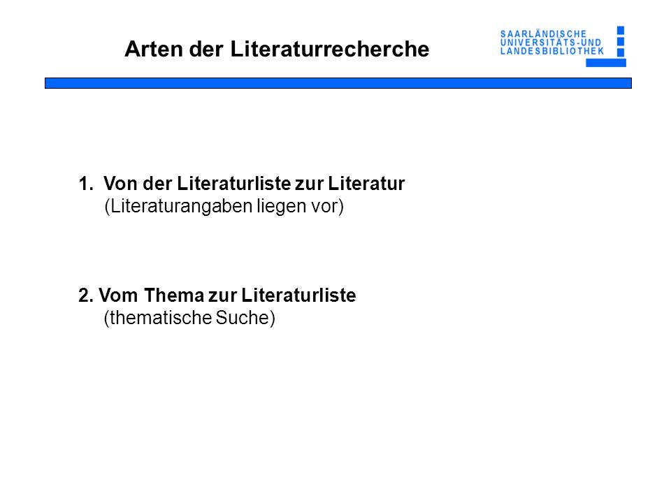 Arten der Literaturrecherche