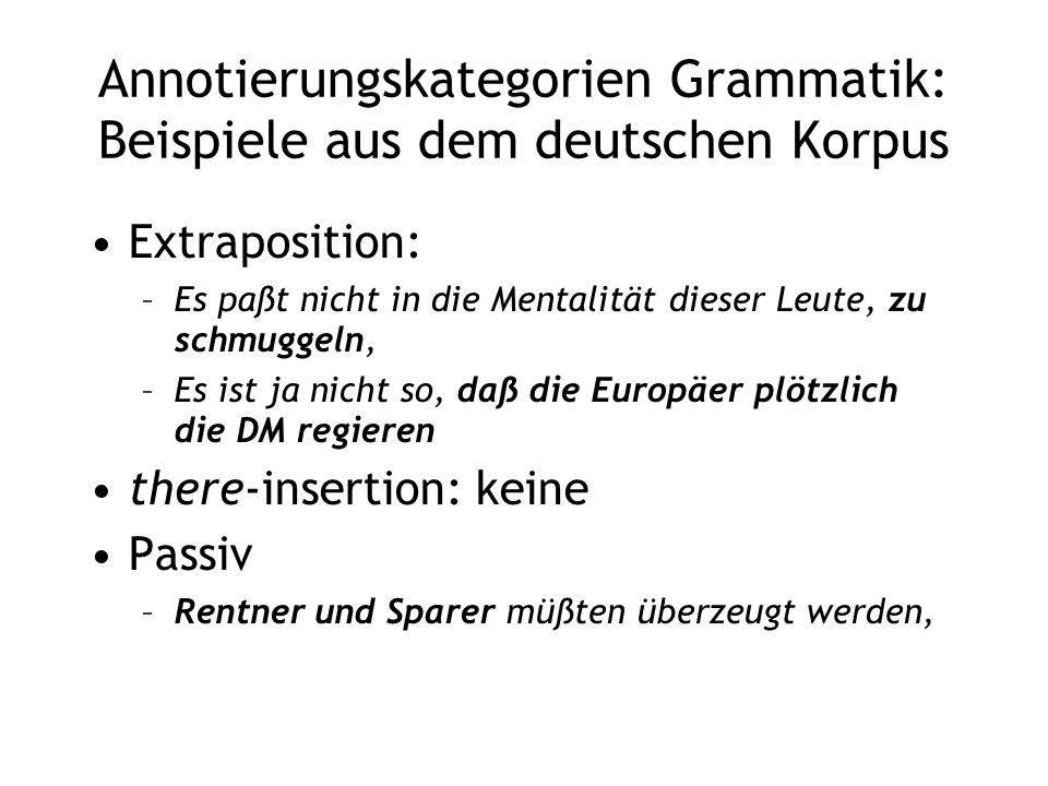 Annotierungskategorien Grammatik: Beispiele aus dem deutschen Korpus