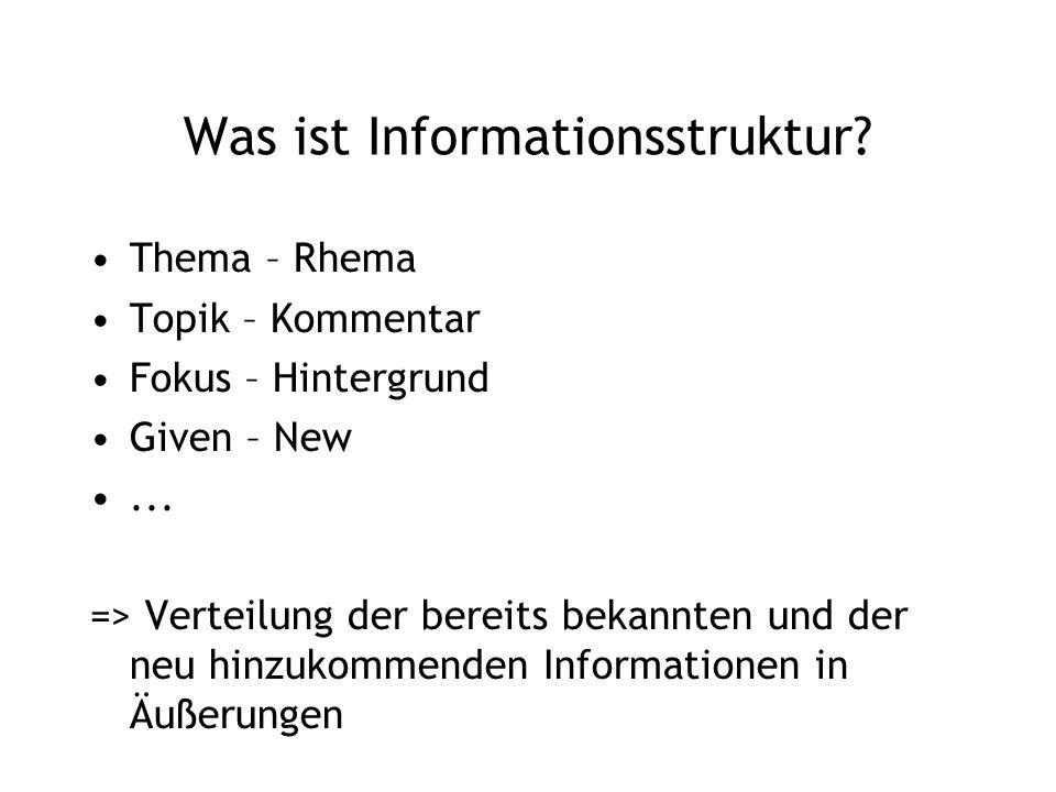Was ist Informationsstruktur