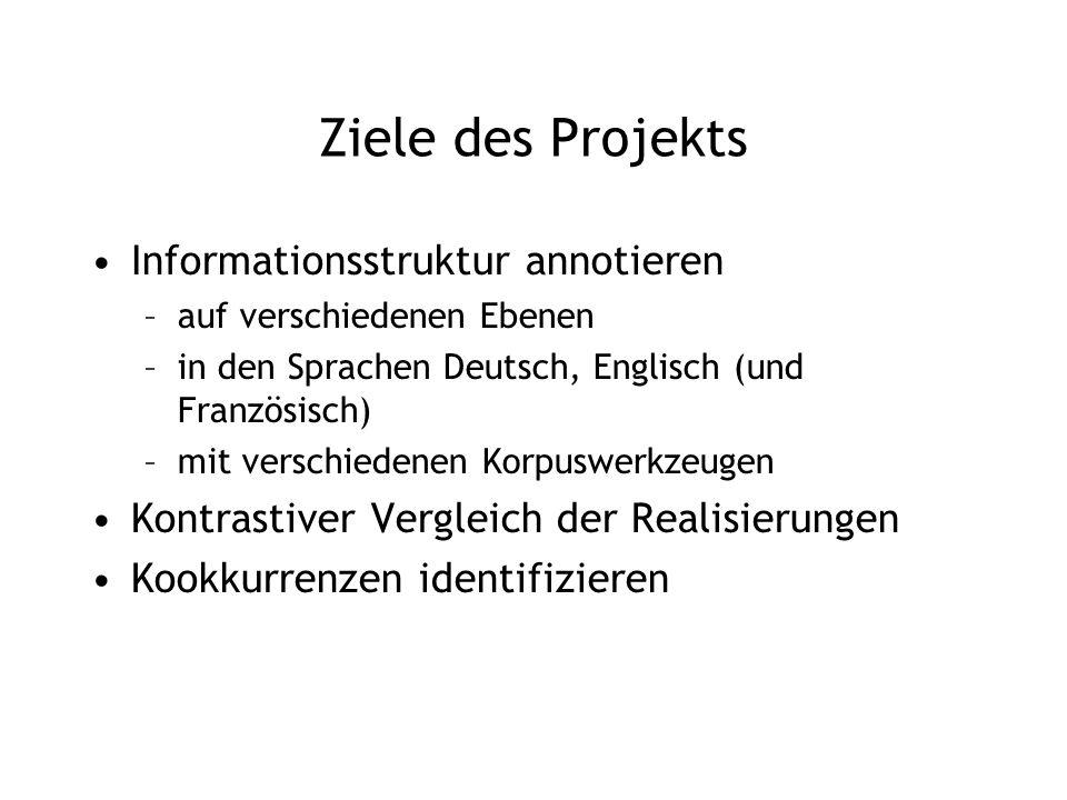 Ziele des Projekts Informationsstruktur annotieren